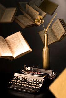 Writing by typewriter.